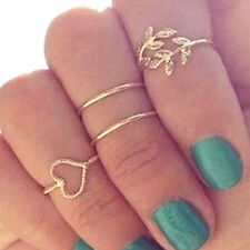 4 Pcs/Lot Vintage Gold&Silver Love Heart Leaves Crystal Knuckle Finger Rings Set