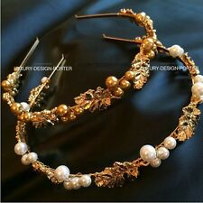 Designer Luxury Royal Baroque style Gold tone leaf pearl hair band head wrap