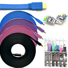1080P 5Ft 6Ft 10Ft 15Ft HDMI Cable Flat Male for PS3 XBOX Blu-ray 3D HDTV ARC