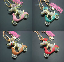 New Betsey Johnson Shining crystal  Enamel Motorcycle Dog Pendant Necklace #508