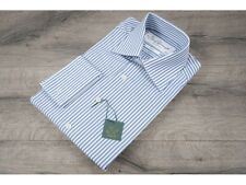 Ede & Ravenscroft £95 Blue Slim Fit Stripe Shirt Mother Of Pearl Buttons