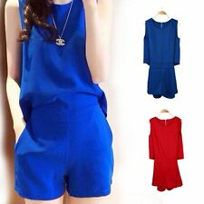 Womens Sleeveless Solid Color Back Zipper Short Pant Romper Jumpsuit Blue Red