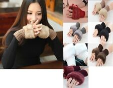 Thick Fashion Women Knitted Wool Hand Wrist Warmer Fingerless Winter Gloves