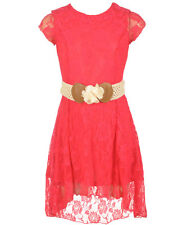 "Dream Girl Little Girls' ""Lacey Flora"" Hi-Low Dress with Belt"
