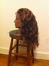 Full Lace Wig Human Hair Brown with Blonde Highlight Beach Wave Texture
