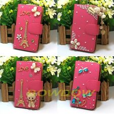 Rosy Luxury handmade 3D bling flip PU leather case cover For LG Mobile Phone