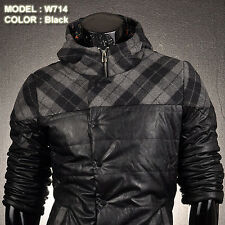 Mens Jackets Coats Shirts PU Faux Leather Outerwear Tops Hoodie Plaid S M L W714