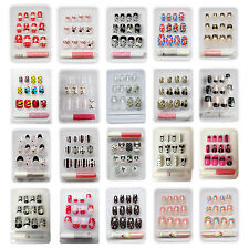 3D Fancy French Artificial False Fake French Acrylic Nail Art Full Tips Stickers