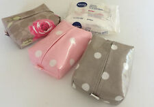 FACIAL/MAKE UP WIPES CASES  MADE IN PRETTY DESIGNER OIL CLOTH FABRICS