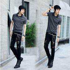 Men's ripped jeans black denim punk rock slim pencil trousers pants