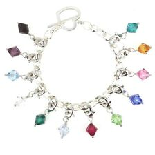 Clip On Dangle Made with Swarovski Birthstone Crystal Silver Tone Lobster Clasp