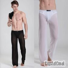 Sexy Mens See-through Sheer Soft Home Pants Sport Yoga Long Trousers Underwear