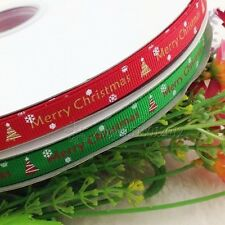 "Upick 3/8"" grosgrain ribbon bows Merry Christmas printed DIY craft appliques"