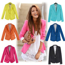 New Women Tunic Stylish Candy Color Solid Slim Long Suit Blazer Coat Color 2015