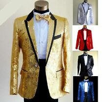 Bling Sequins Jacket Mens Tuxedo Suit Gentleman One Button Style Psy Coat Cloth