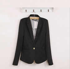 New Womens Fashion Candy Color One Button Casual Slim Suit Blazer Jacket 6 Color