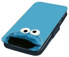 Cookie Monster Design Printed Faux Leather Flip Phone Cover Case