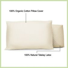 100% Natural Talalay Latex Pillow w/ Organic Cotton Cover - Made in USA