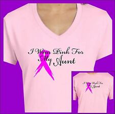 BREAST CANCER AWARENESS V NECK T SHIRT I WEAR PINK FOR MY AUNT PINK RIBBON