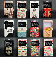 Window View Cartoon Flip Wallet Leather Case Cover Stand For Sony Xperia T3 M50W
