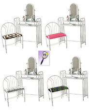 RS16 WHITE FINISH METAL MAKE UP VANITY TABLE DESK W/ SEAT CUSHION BENCH MIRROR