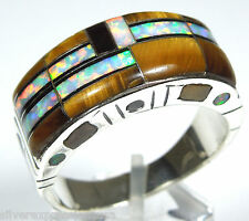 Southwestern Tiger Eye & Opal Inlay 925 Sterling Silver Men's Ring all sizes