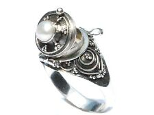 Sterling Silver Round Poison Ring with Genuine Pearl