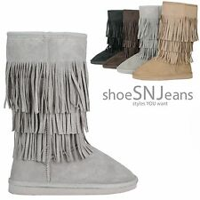 NEW Tribal Fashion Warm Indian Winter Snow Boots Fringe Slip On Shoe Mid Calf