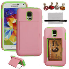 FL Hard/Soft Heavy Duty Hybrid Credit Card Wallet Case Cover for iPhone Samsung