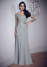 2014 New Design Long Sleeves Lace Formal Mermaid Prom Evening Dress Wedding Gown