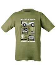 Military Printed WILLY'S JEEP T Shirt Olive Green SAS