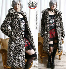 RTBU Punk Leopard Animal Cheetah Faux Fur Long Furry Jacket Knee Trench Coat