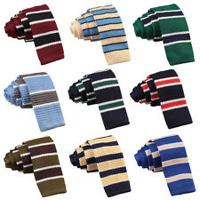 NEW DQT KNITTED STRIPE WITH BORDERS MEN'S SKINNY TIE