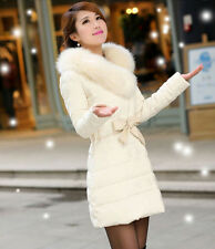 Womens large collar fashion slim winter long down coats feather dress jacket