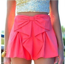 New Fashion Women's Solid Elastic Waistband Bow Summer Shorts Hot Bottoms Pants