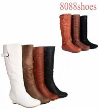 Women's Low Wedge Heel Round Toe  Knee High Causal Dress Boot  Size 5 -10 NEW