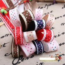"50YDS 3/8"" 5/8"" dotty lace printed grosgrain ribbon for hairbow bow home top"