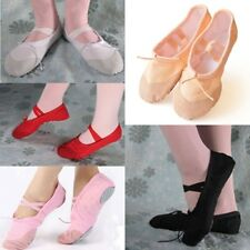 Adult Child Flat Soft-soled Shoes Canvas Ballet Pointe Dance Slippers 5 Colors
