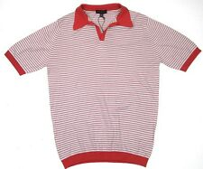 JOHN SMEDLEY Perry Skipper Collar Striped Shirt Poppy ~ M