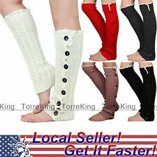 Crochet Lace Trim Button Down Braid Leg Knit Warmers Boot Socks Knee High