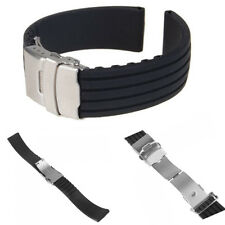 Black Silicone Rubber Watch Strap Band Deployment Buckle Waterproof 18mm ~ 24mm