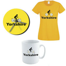 YORKSHIRE CYCLING Gift Set - Rose / County / Fun / Women's T-shirt / Clock / Mug