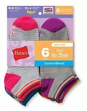 Hanes Girls' Fashion ComfortBlend® No Show Socks 6-Pack - style 745/6