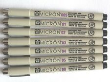 Lot 7 pcs Sakura Pigma Micron Pen 005 01 02 03 04 05 08 Set Wholesale Drawing
