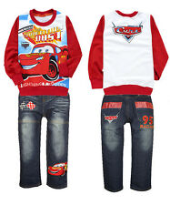 Cars Lightning McQueen Boy's T-Shirts+Trousers jeans Kids Outfits & Sets 2-8Year