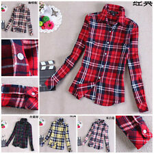 Women Fashion Cell Style Long Sleeve Casual Cotton Blend Thick Dress Plaid Shirt
