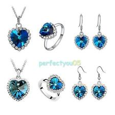 New Titanic Heart of Ocean Crystal Rhinestone Necklace Ring Earrings Set C#P5