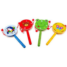 Lovely Kids Wooden Toys Musical Hand Bell Rattle Drum Developmental Toy Gifts