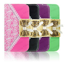 Bow Tie Leather Wallet Flip Magnetic Case Book Pockets Cover For Apple Samsung