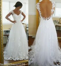 New White/ivory Lace Wedding Dress Custom Size 2-4-6-8-10-12-14-16-18-20-22++++